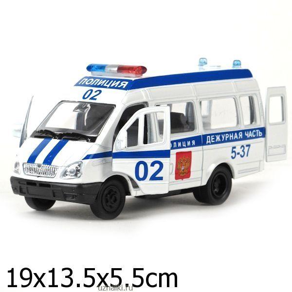 901f45031292 Машина технопарк металл. инерц. газель полиция 1 43 свет+звук ...