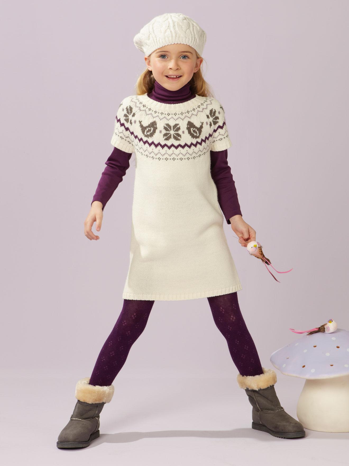 Вязаное платье зимнее для девочки