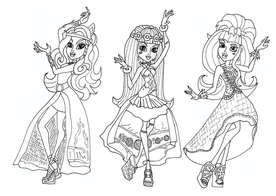 Игры для девочек раскраски монстер хай